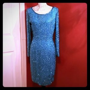 NEIMAN MARCUS BLUE SILK DRESS Size 10